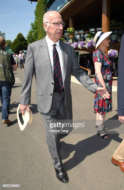 Sir Bobby Charlton attends day six of the Wimbledon Tennis Championships at the All England Lawn Tennis and Croquet Club on July 7 2018 in London...