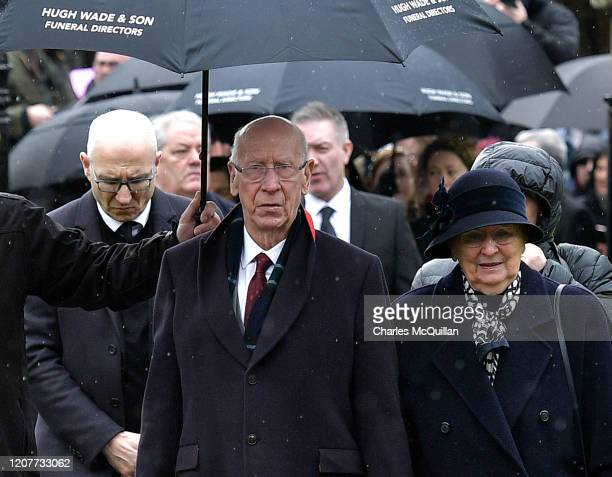 Sir Bobby Charlton attends the funeral for former Manchester United and Northern Ireland goalkeeper Harry Gregg at St Patrick's Parish Church on...