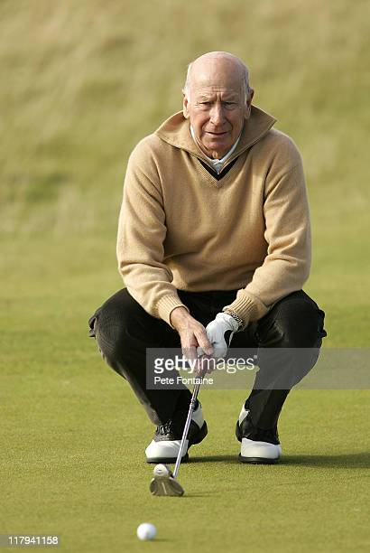 Sir Bobby Charlton during the first round of the 2005 Dunhill Links Championship at Kingbarns Golf Club September 29 2005