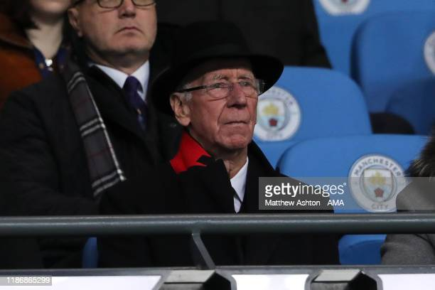 Sir Bobby Charlton looks on during the Premier League match between Manchester City and Manchester United at Etihad Stadium on December 7 2019 in...