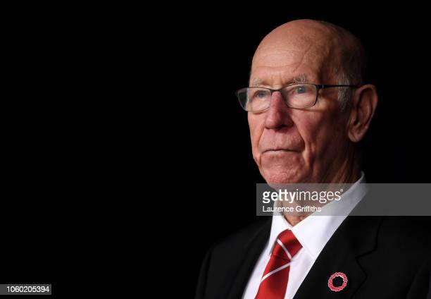 Sir Bobby Charlton looks on prior to the Premier League match between Manchester City and Manchester United at Etihad Stadium on November 11, 2018 in...