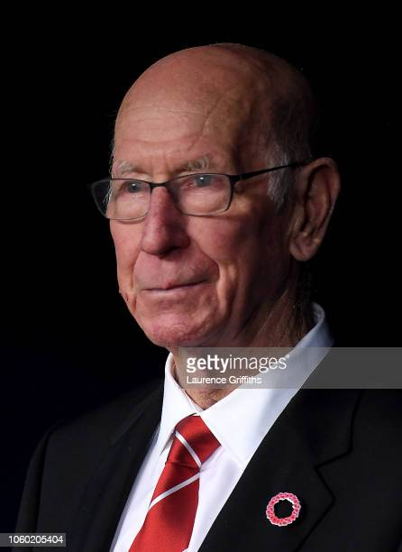 Sir Bobby Charlton looks on prior to the Premier League match between Manchester City and Manchester United at Etihad Stadium on November 11 2018 in...