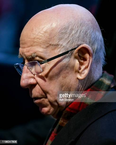 Sir Bobby Charlton of Manchester United arrives ahead of the Premier League match between Manchester United and Newcastle United at Old Trafford on...
