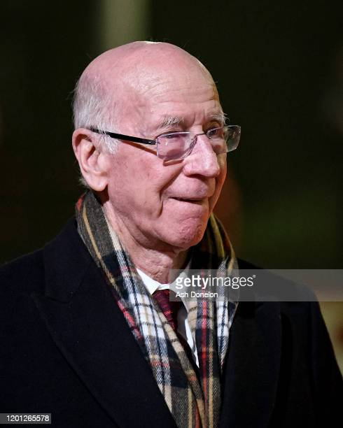Sir Bobby Charlton of Manchester United arrives ahead of the Premier League match between Manchester United and Burnley FC at Old Trafford on January...