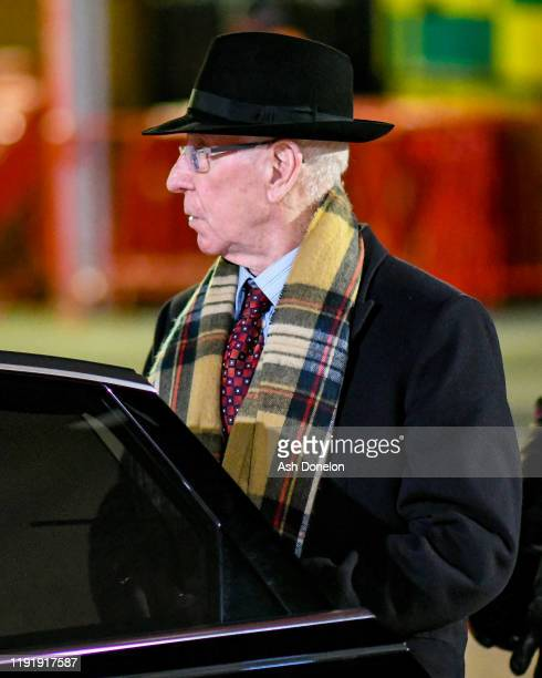 Sir Bobby Charlton of Manchester United arrives at Old Trafford ahead of the Premier League match between Manchester United and Tottenham Hotspur at...