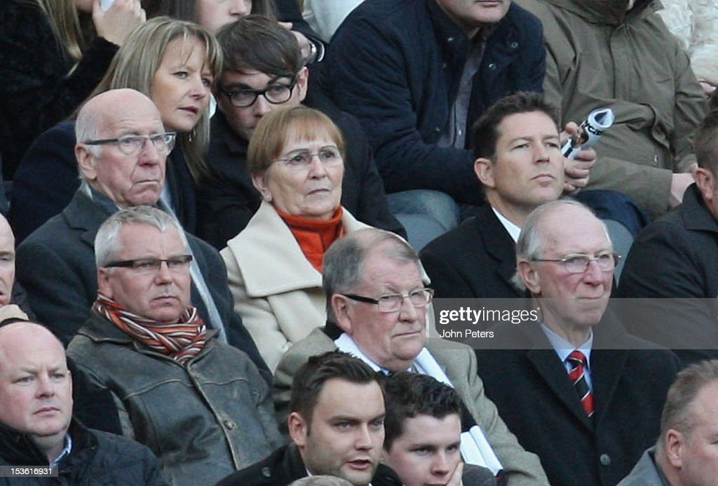 Sir Bobby Charlton (Top L) of Manchester United watches from the stand with his brother Jack Charlton (Bottom R) during the Barclays Premier League match between Newcastle United and Manchester United at Sports Direct Arena on October 7, 2012 in Newcastle upon Tyne, England.