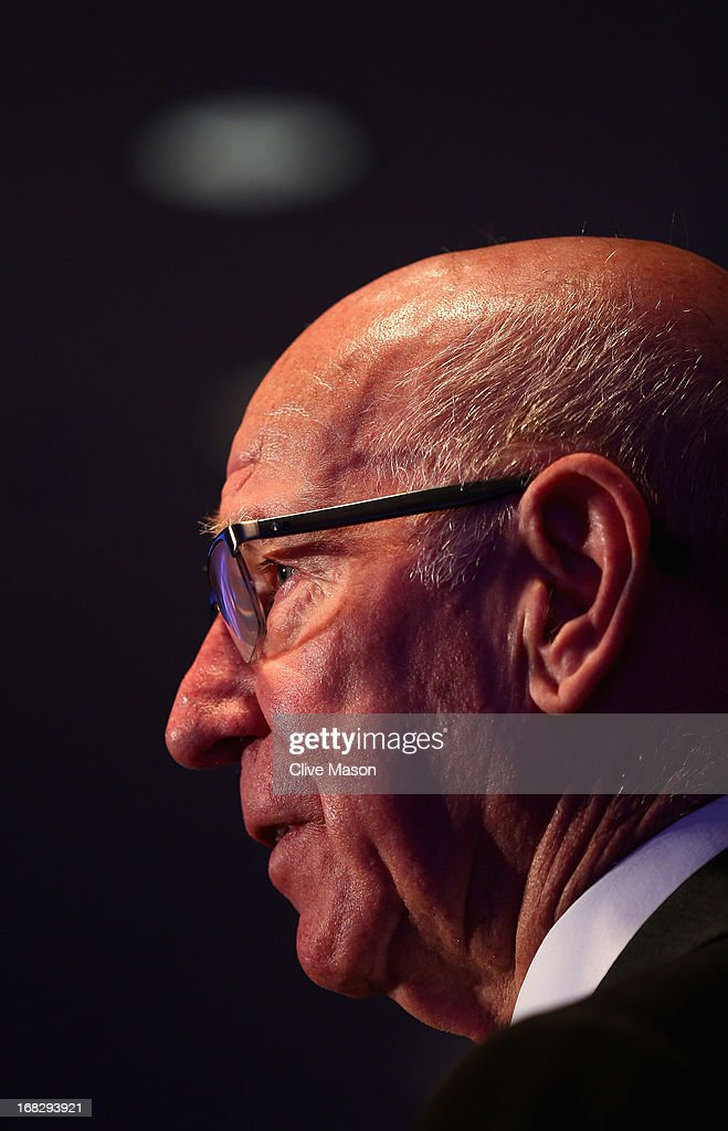 Sir Bobby Charlton talks to the media during the Football Association's Royal Mail Stamp Launch at Wembley Stadium on May 8, 2013 in London, England.