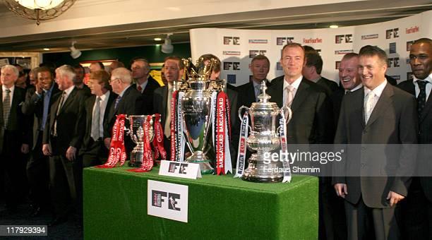 Sir Bobby Robson, John Barnes, guest, Gordon Strachan, guest, Alan Curbishley, Sir Alex Ferguson, Alan Shearer, Dave Basset,Micky Adams and Les...