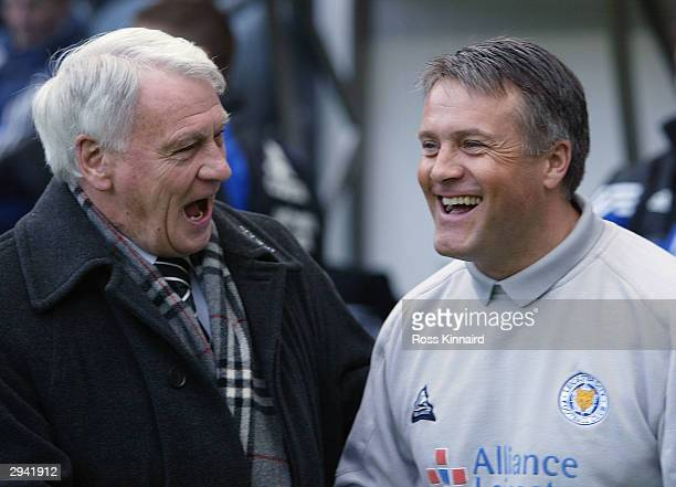 Sir Bobby Robson manager of Newcastle and Micky Adams manager of Leicester during the FA Barclaycard Premiership match between Newcastle United and...