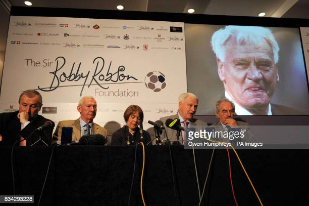 Sir Bobby Robson who is fighting cancer himself today at the launch of The Sir Bobby Robson Foundation is pictured with Jim Rosenthal Bob Wilson Dr...