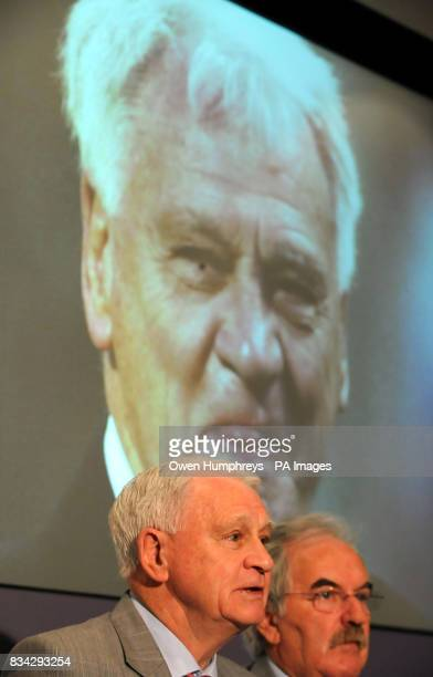 Sir Bobby Robson who is fighting cancer himself today at the launch of The Sir Bobby Robson Foundation pictured with Des Lynham The foundation will...