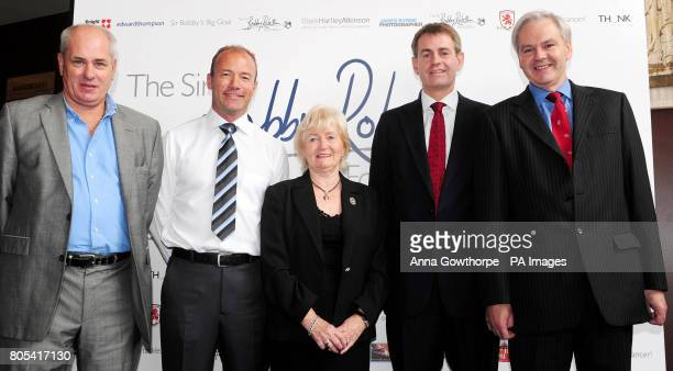 Sir Bobby Robson's family son Andrew Robson widow Lady Elsie Robson son Mark Robson and son Paul Robson with Alan Shearer as the former Newcastle...