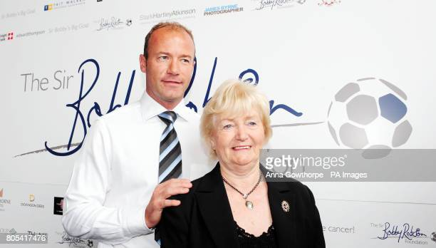 Sir Bobby Robson's widow Lady Elsie Robson and former Newcastle United and England footballer Alan Shearer as he announces he has become a patron of...