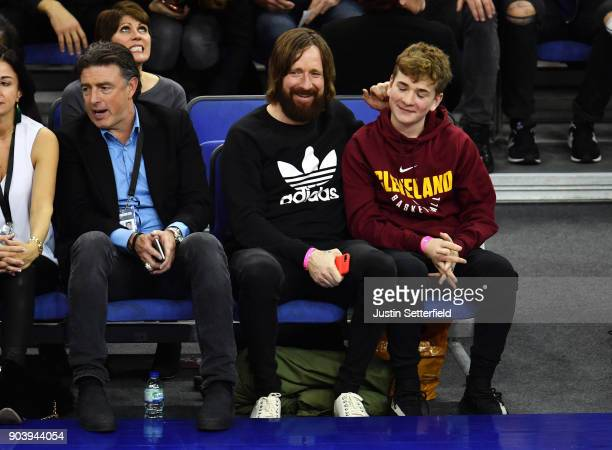 Sir Bradley Wiggins and his son during the NBA game between Boston Celtics and Philadelphia 76ers at The O2 Arena on January 11 2018 in London England