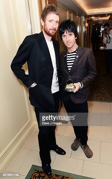 Sir Bradley Wiggins and Johnny Marr winner of the Gibson Les Paul award at the Xperia Access Q Awards at The Grosvenor House Hotel on October 22 2014...