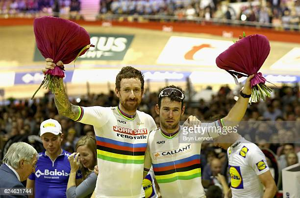 Sir Bradley Wiggins and Mark Cavendish of Great Britain and Team John Saey Callant celebrate victory after the final day of the 76th 6 Days of Gent...