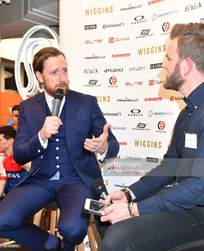 Sir Bradley Wiggins (left) during the 2018 Team Wiggins Launch at lululemon, London.