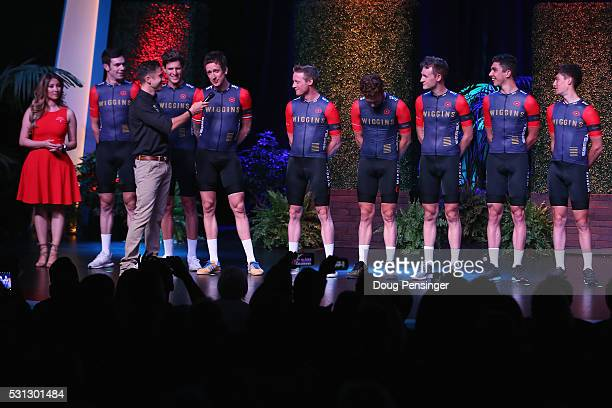Sir Bradley Wiggins is interviewed by Christian Vande Velde as Team Wiggins takes the stage during the team presentation at Sea World ahead of the...