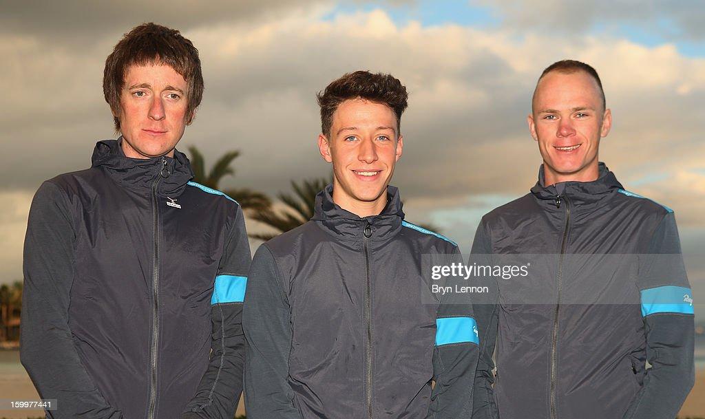 Sir Bradley Wiggins, Josh Edmondson and Chris Froome attend a Team Sky Media Day in Puerto de Alcudia on January 24, 2013 in Mallorca, Spain.