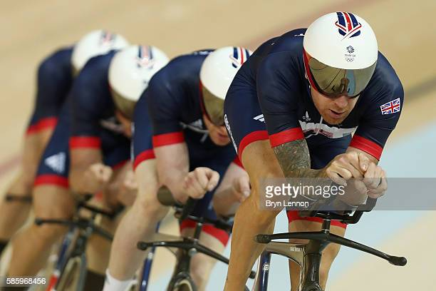 Sir Bradley Wiggins of Great Britain and Team GB leads the team pursuit riders during training at the Rio Olympic Velodrome on August 4 2016 in Rio...