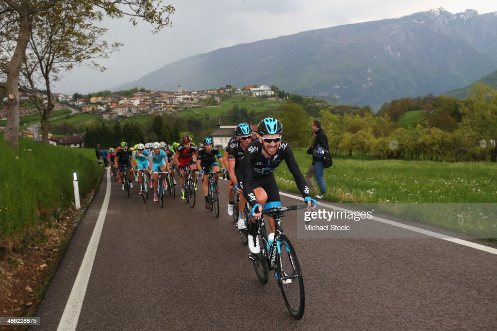 Sir Bradley Wiggins of Great Britain and Team Sky grimaces as he heads up to the stage finish during stage two of the Giro del Trentino from Limone sul Garda to San Giacomo di Brentonico on April 23, 2014 in San Giacomo di Brentonico, Italy.
