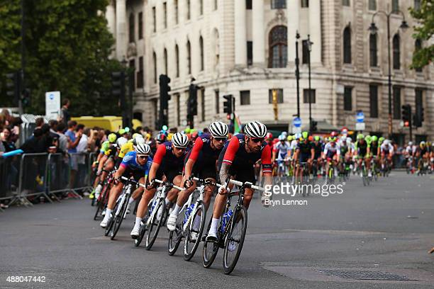 Sir Bradley Wiggins of Great Britain and Team Wiggins leads the peloton on stage eight of the Tour of Britain an 868km stage around central London on...