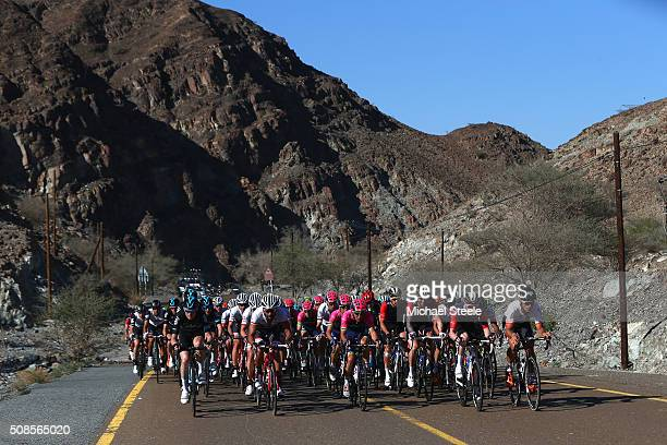 Sir Bradley Wiggins of Great Britain and Team Wiggins leads the peloton on the climb to Hatta Dam during the Westin Stage Three of the Tour of Dubai...