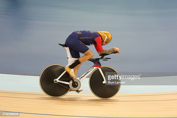 Sir Bradley Wiggins of Great Britain and Team Wiggins on his way to breaking the UCI One Hour Record at Lee Valley Velopark Velodrome on June 7 2015...