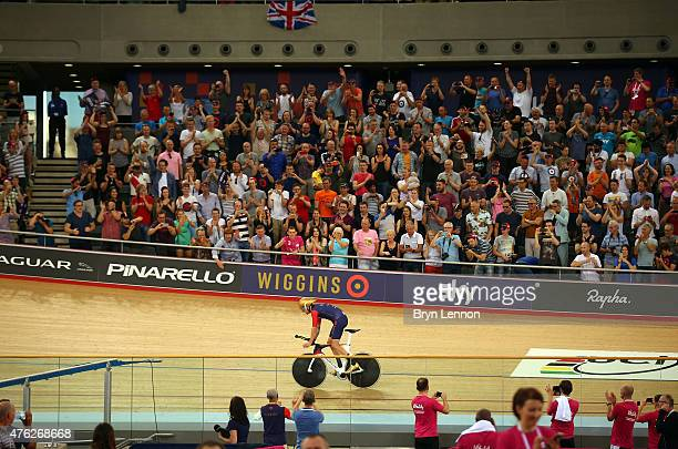 Sir Bradley Wiggins of Great Britain and Team Wiggins on his way to breaking the UCI One Hour Record at Lee Valley Velopark Velodrome on June 7, 2015...