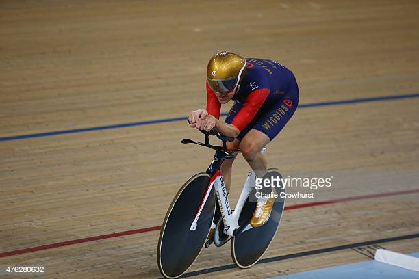 Sir Bradley Wiggins of Great Britain and Team Wiggins on his way to break the UCI One Hour Record at Lee Valley Velopark Velodrome on June 7 2015 in...