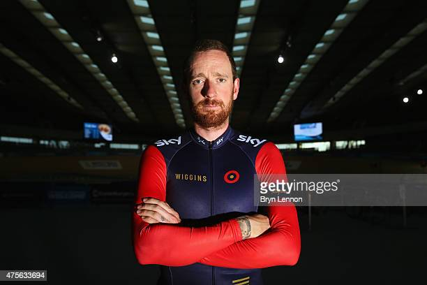 Sir Bradley Wiggins of Great Britain and Team Wiggins poses for a photo after training at the Lee Valley Velopark ahead of his UCI Hour Record...