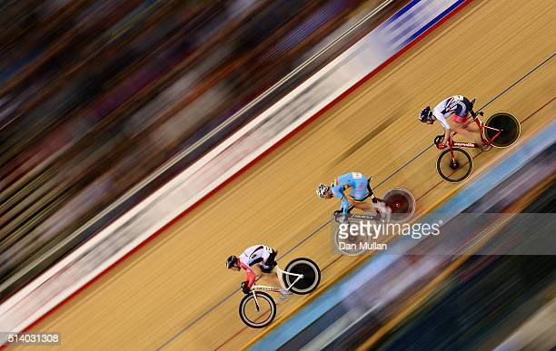 Sir Bradley Wiggins of Great Britain competes in the Mens Madison Final during Day Five of the UCI Track Cycling World Championships at Lee Valley...