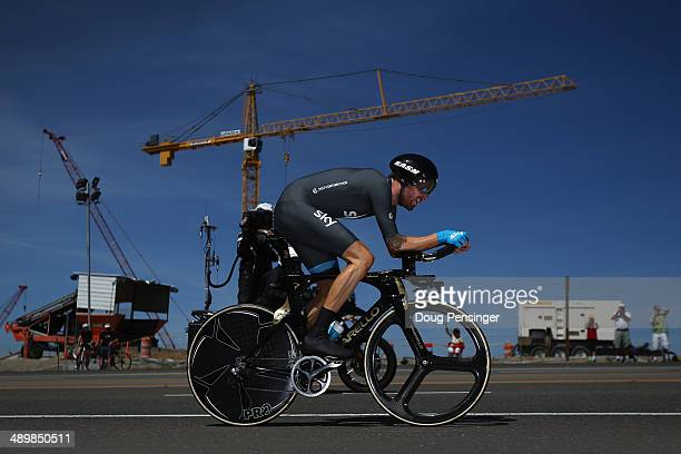 Sir Bradley Wiggins of Great Britain riding for Team Sky races the individual time trial to victory in stage two and takes the overall race lead in...