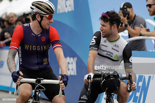Sir Bradley Wiggins of Great Britain riding for Team Wiggins and Mark Cavendish of Great Britain riding for Dimension Data for Qhubeka prepare for...