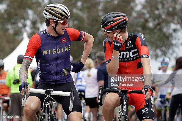 Sir Bradley Wiggins of Great Britain riding for Team Wiggins and Rohan Dennis of Australia riding for BMC Racing prepare for the start of stage one...