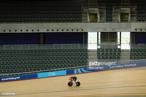 Sir Bradley Wiggins of Great Britain trains at the Lee Valley Velopark ahead of his UCI Hour Record Attempt on June 2, 2015 in London, England.