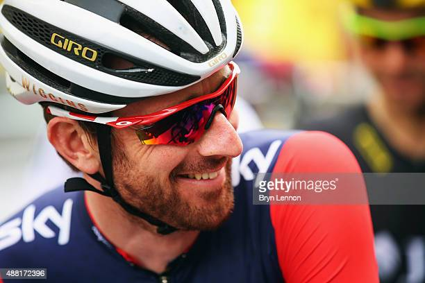 Sir Bradley Wiggins of Great Britian and Team Wiggins is seen at stage eight of the Tour of Britain an 868km stage around central London on September...