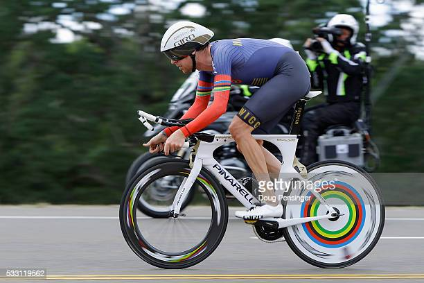 Sir Bradley Wiggins of Great Britian riding for Team Wiggins competes in the individual time trial during stage six of the 2016 Amgen Tour of...