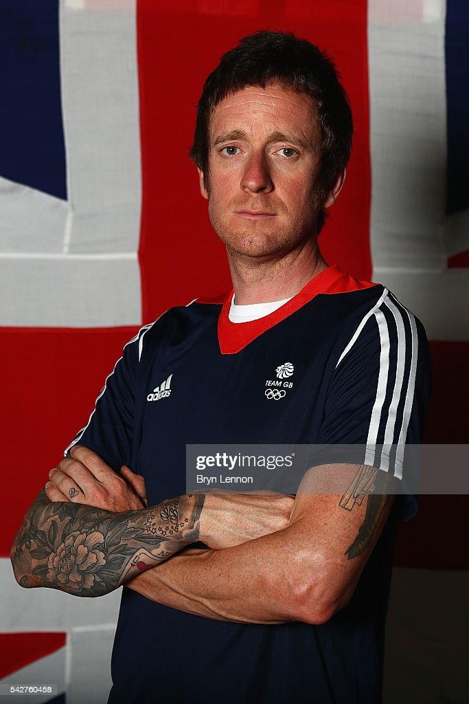 Sir Bradley Wiggins of Team GB poses for a photo at a press conference announcing the Team GB track cyclists selected to ride in the Rio 2016 Olympic Games on June 24, 2016 in Manchester, England.