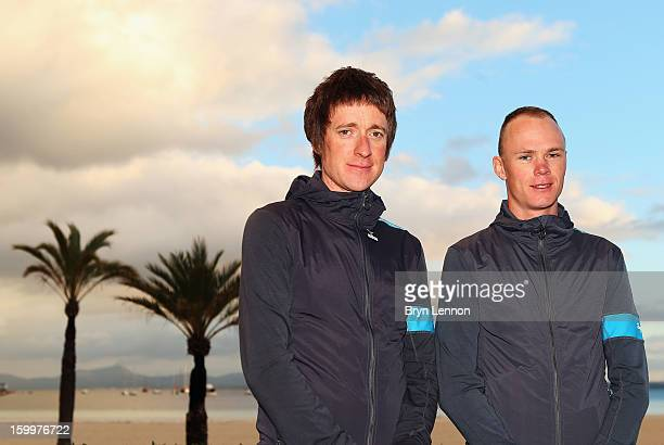Sir Bradley Wiggins of Team SKY and team mate Chris Froome attend a Team Sky Media Day in Puerto de Alcudia on January 24 2013 in Mallorca Spain