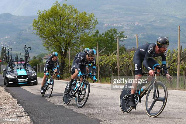 Sir Bradley Wiggins of Team Sky leads his squad during the 134km team time trial from Riva del Garda to Arco on stage one of the Giro del Trentino on...