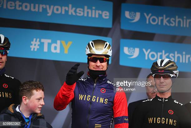 Sir Bradley Wiggins of Team Wiggins and Great Britain acknowledges the crowd prior to the first stage of the 2016 Tour de Yorkshire from Beverley to...