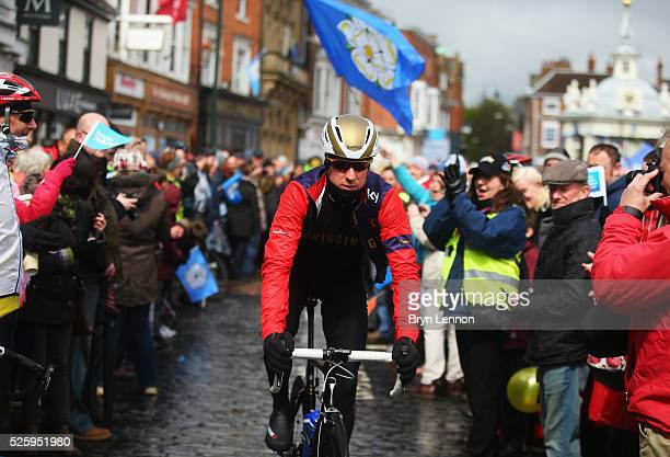 Sir Bradley Wiggins of Team Wiggins and Great Britain makes his way to the start prior to the first stage of the 2016 Tour de Yorkshire from Beverley...