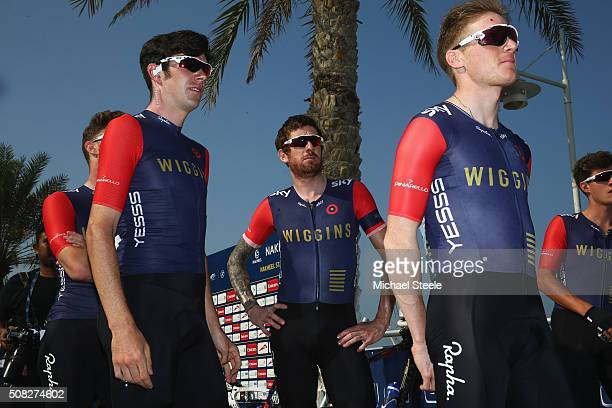 Sir Bradley Wiggins of Team Wiggins at the signing in ahead of the Nakheel Stage Two of the Tour of Dubai on February 4 2016 in Dubai United Arab...