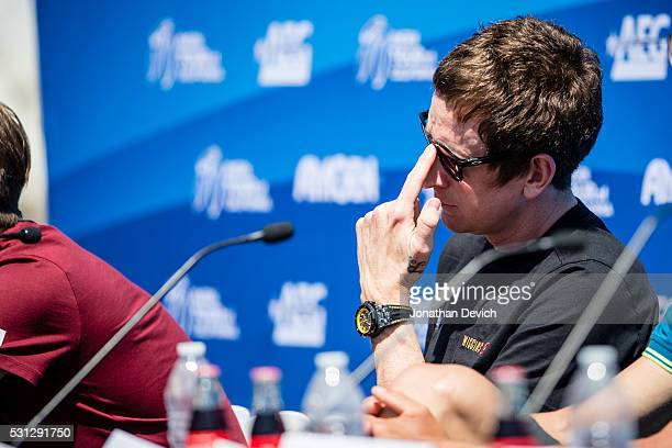 Sir Bradley Wiggins riding for Team Wiggins pushes up his sunglasses during the press conference at the Amgen Tour of California on May 13 2016 in...