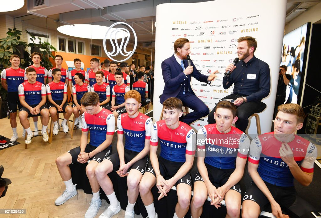 Sir Bradley Wiggins (centre) with 16 of his 18 man team, during the 2018 Team Wiggins Launch at lululemon, London.