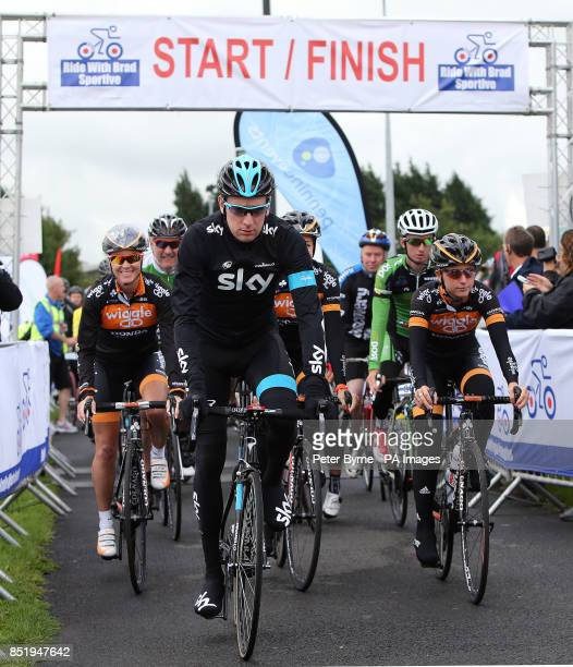 Sir Bradley Wiggins with Dani King and Laura Trott start the Ride With Brad Sportive in Lancashire