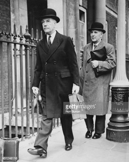 Sir Brian Robertson chairman of the British Transport Commission arrives for a meeting with the executive committee of the Associated Society of...