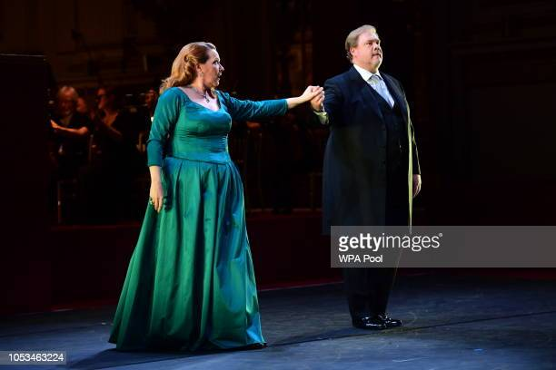 Sir Bryn Terfel performs as Prince Charles Prince of Wales and Camilla Duchess of Cornwall attend a Gala Concert at The Royal Opera House to mark...