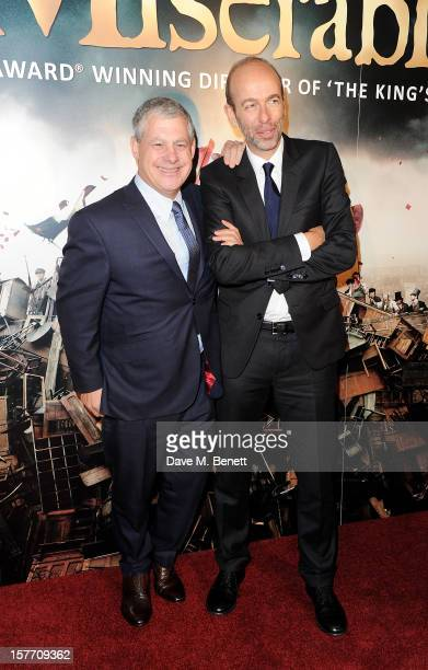 Sir Cameron Mackintosh and Eric Fellner attend an after party following the World Premiere of 'Les Miserables' at The Roundhouse on December 5 2012...